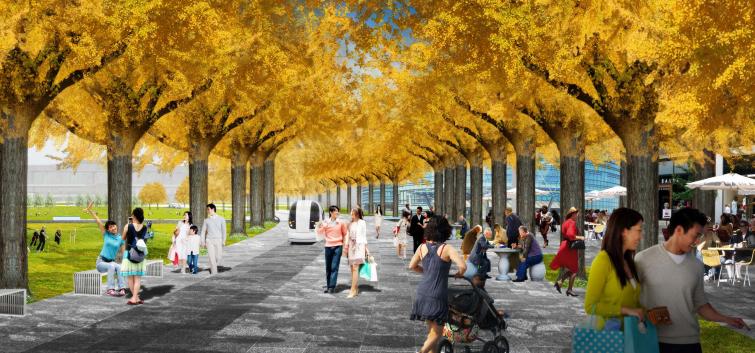 上海某知名地产绿轴公园景观方案设计 3 主行步道 效果图