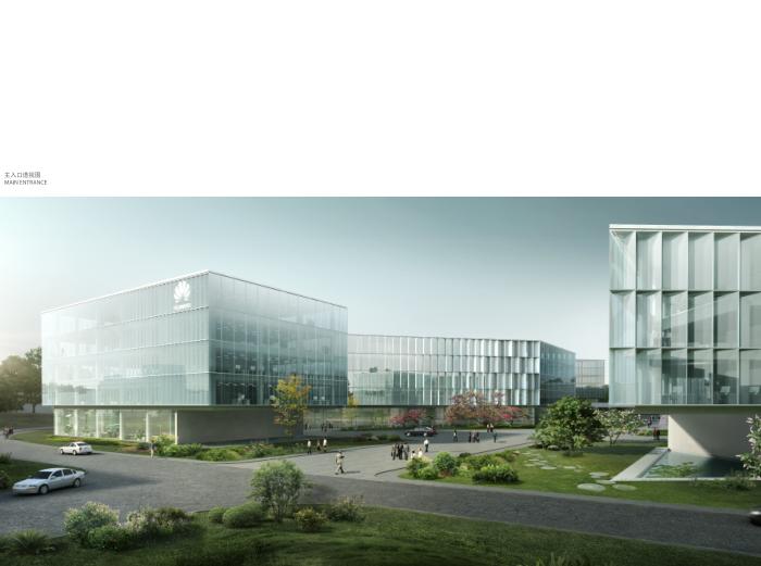 华为成都产业园区二期建筑设计方案文本2019-主入口透视图