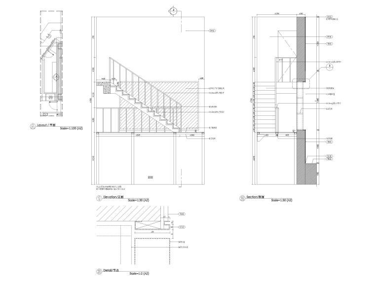 六层楼梯立面图