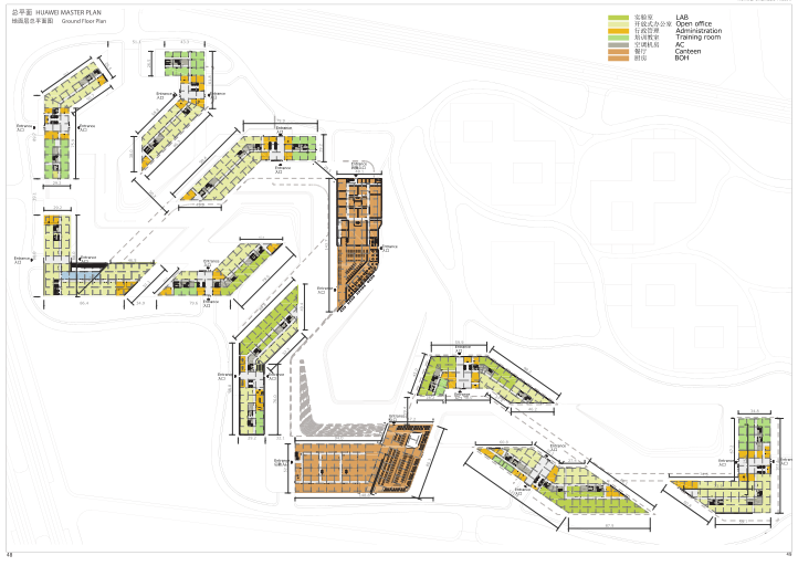 华为成都产业园区二期建筑设计方案文本2019-地面层总平面图