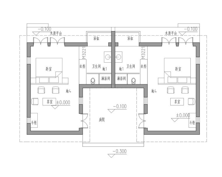 成都宝珀上云上金乡村酒店-大床房一层平面图