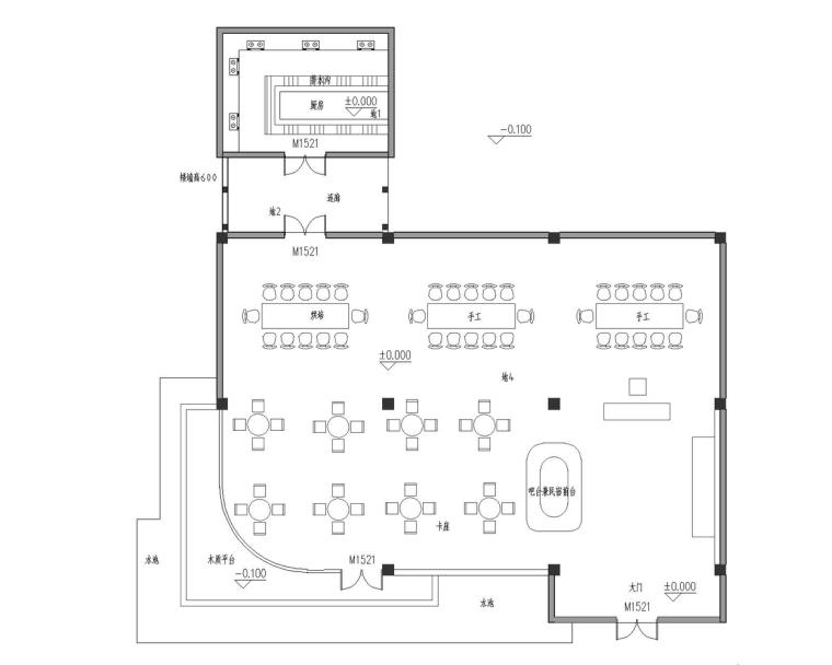 成都宝珀上云上金乡村酒店-多功能厅一层平面图