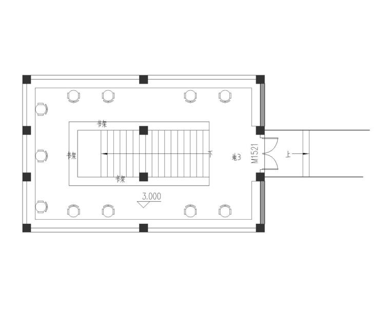 成都宝珀上云上金乡村酒店-图书馆二层平面图