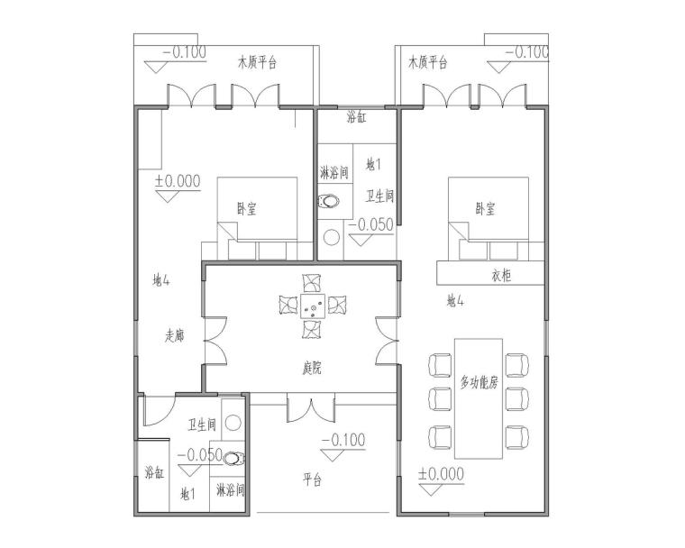 成都宝珀上云上金乡村酒店-家庭房一层平面图
