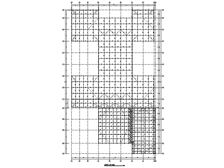 综合活动中心上弦层杆件、球节点布置图
