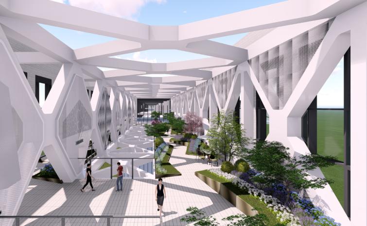 [湖北]武汉某大楼连廊现代时尚景观方案-效果图3