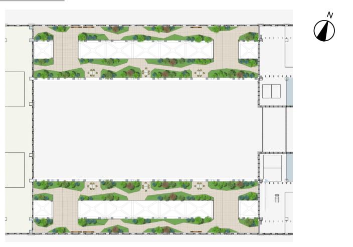 [湖北]武汉某大楼连廊现代时尚景观方案-平面图