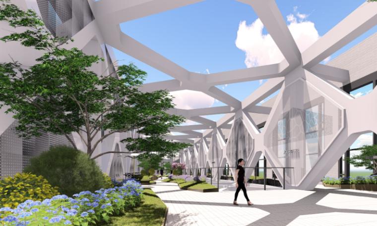 [湖北]武汉某大楼连廊现代时尚景观方案-效果图