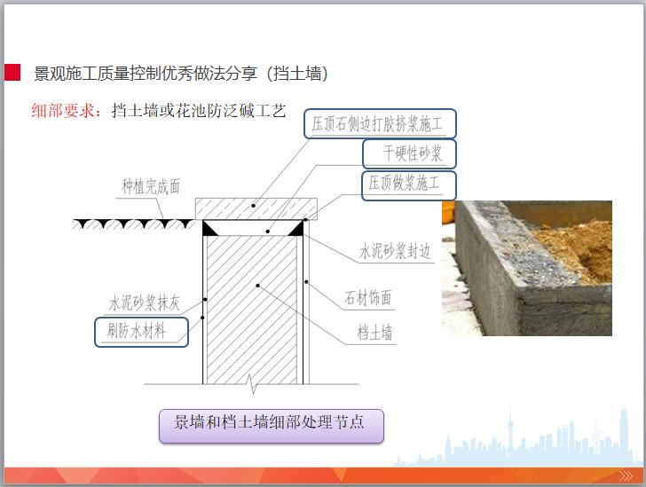 园林景观工程施工管理培训(图文并茂)-景观施工质量控制优秀做法分享(挡土墙)