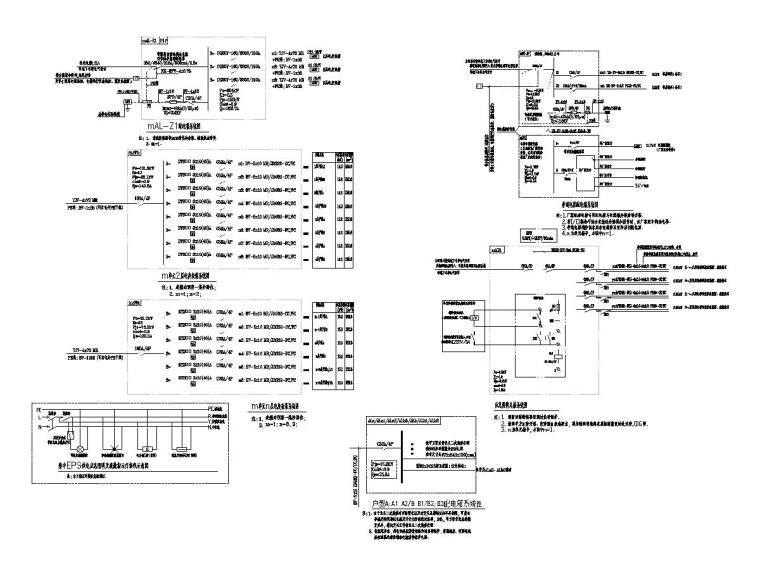 [一键下载]8套别墅建筑电气施工图合集-配电系统图