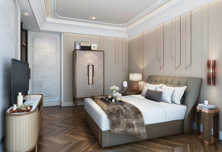 [上海]静安府叠层E2户型别墅施工图_效果图-02客房效果图