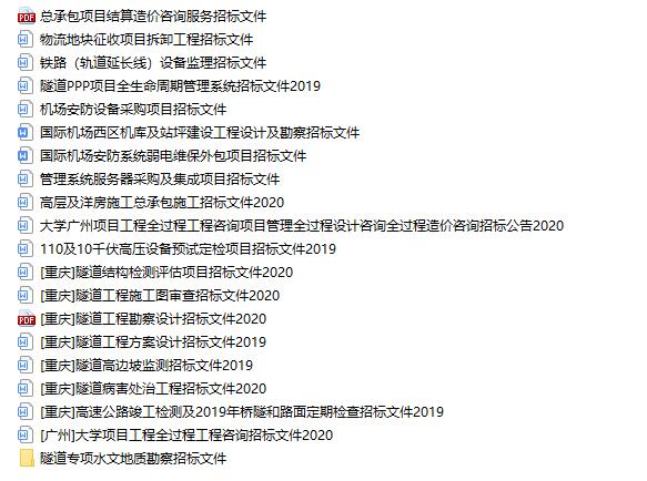 20套招标文件范本
