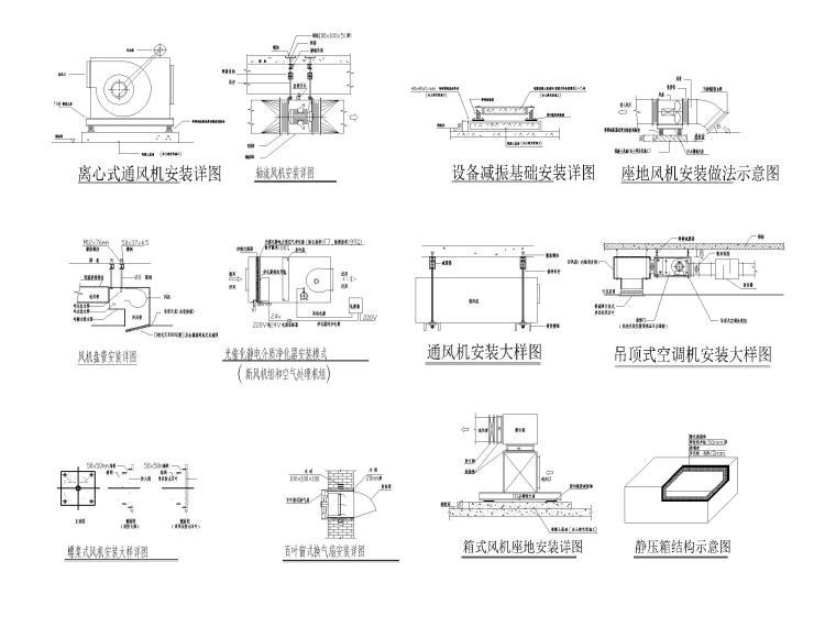 柴油发电机安装大样图资料下载-设备风管安装大样图CAD