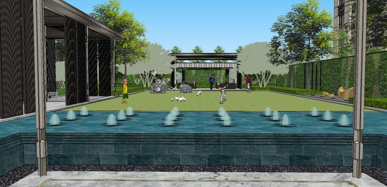 新中式风格展示区内院景观模型设计 (1)