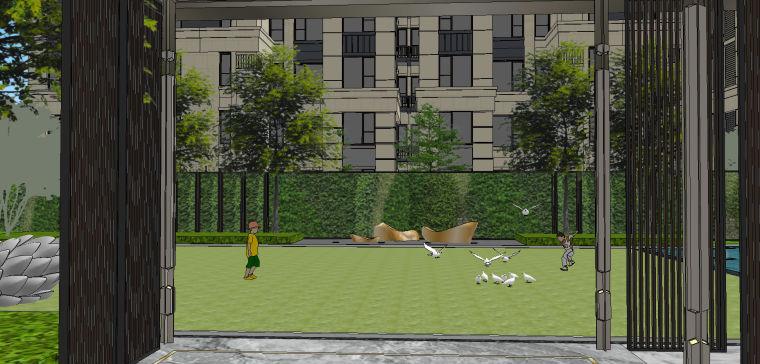 新中式风格展示区内院景观模型设计 (2)