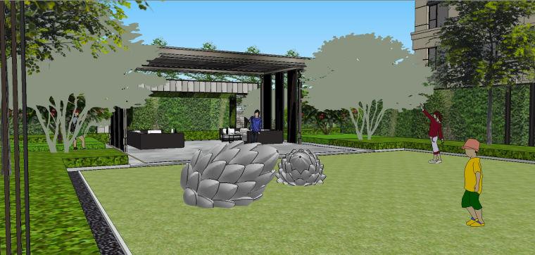 新中式风格展示区内院景观模型设计 (3)