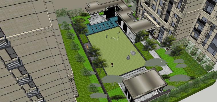 新中式风格展示区内院景观模型设计 (4)