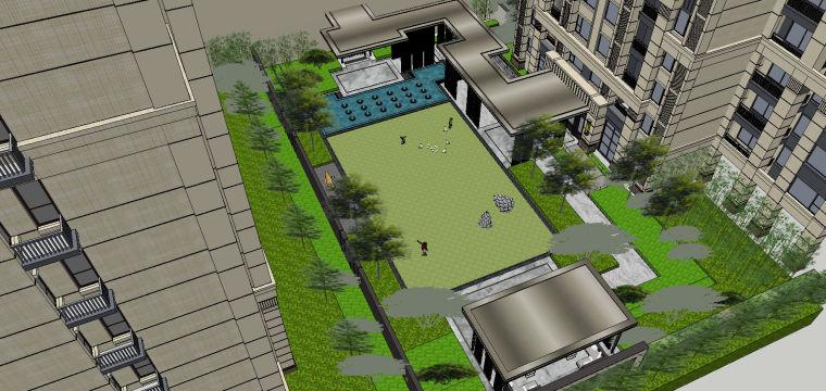 新中式风格展示区内院景观模型设计 (5)