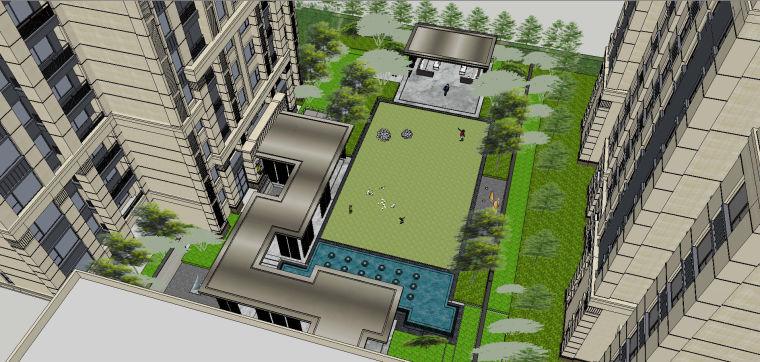 新中式风格展示区内院景观模型设计 (6)