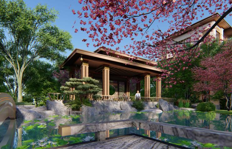 [重庆]新中式风格书院概念示范区景观方案-钟秀院—若水临镜效果图 (2)