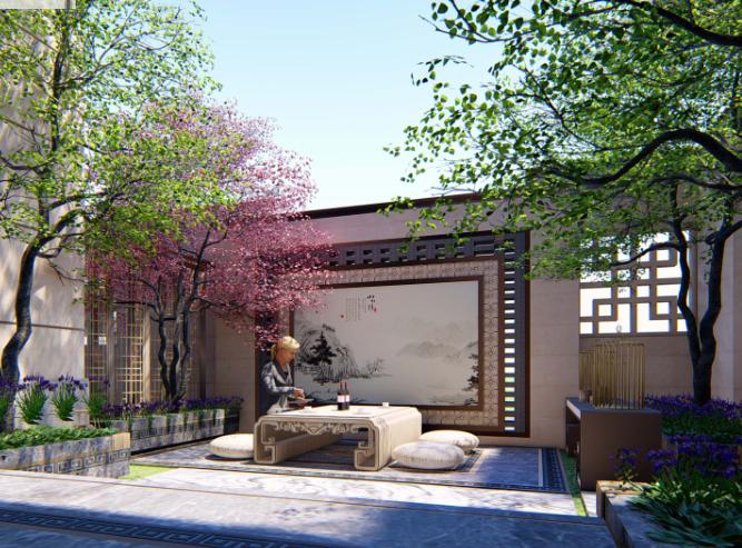 [重庆]新中式风格书院概念示范区景观方案-钟秀院—若水临镜效果图 (3)