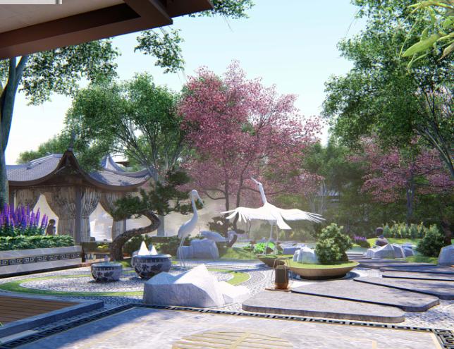 [重庆]新中式风格书院概念示范区景观方案-钟秀院—若水临镜效果图 (4)