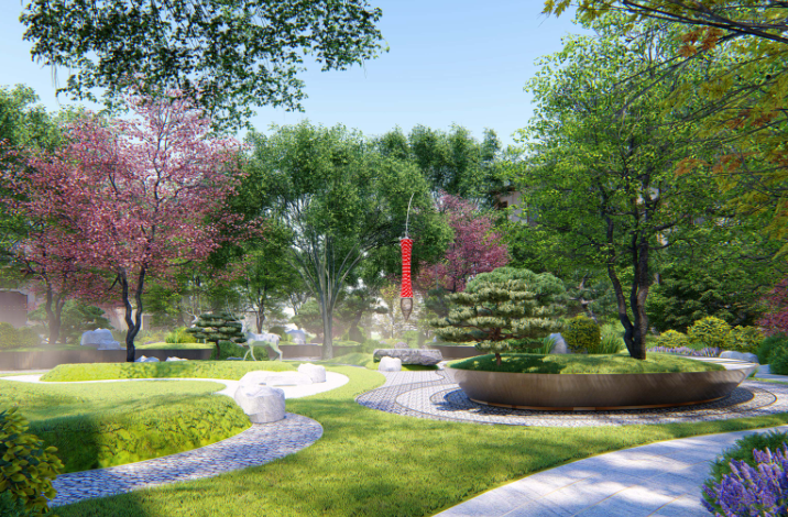 [重庆]新中式风格书院概念示范区景观方案-灵川厅—吟芳畅语效果图 (2)