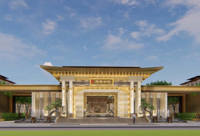 [重庆]新中式风格书院概念示范区景观方案-英崇门—汇情留深效果图