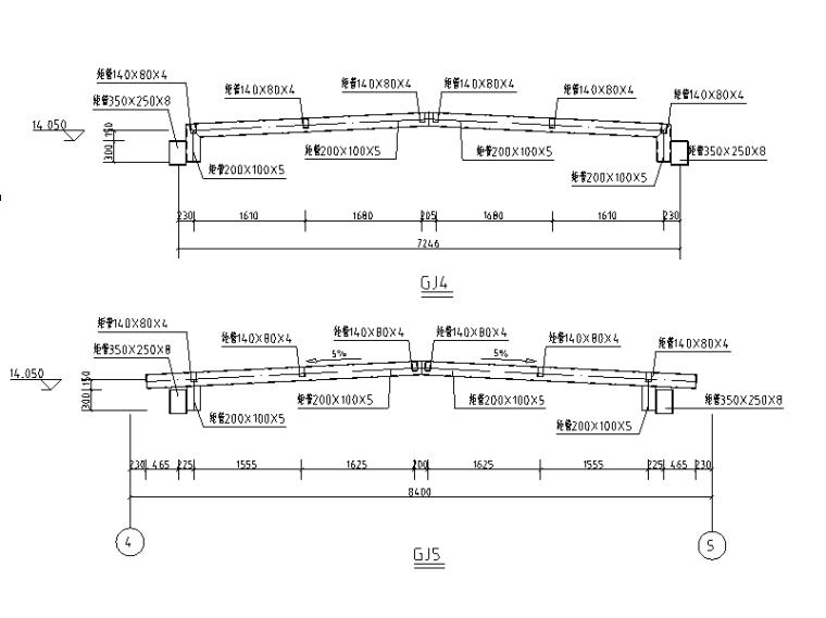 [遵义]4层综合体幕墙及采光顶结施图纸2017-钢架大样图