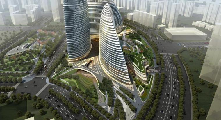 [北京]知名商业办公区景观设计方案-鸟瞰图