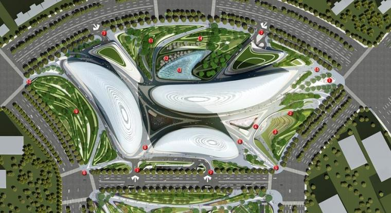 [北京]知名商业办公区景观设计方案-总平面图