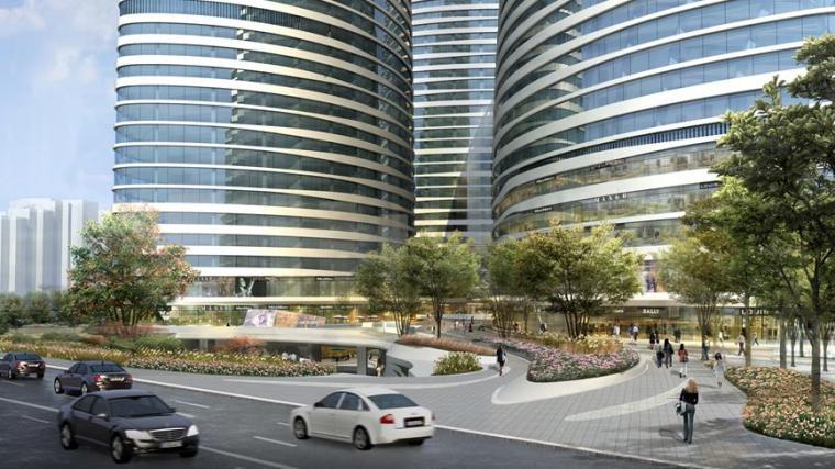 [北京]知名商业办公区景观设计方案-景观效果图