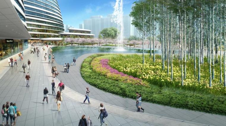 [北京]知名商业办公区景观设计方案-景观效果图3