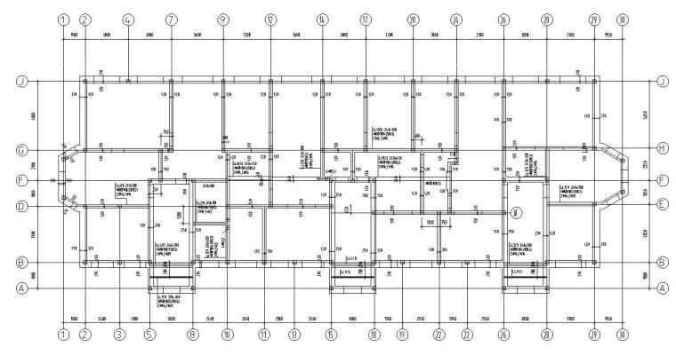 四层住宅带阁楼顶层砖混结构施工图CAD-结构墙柱定位图