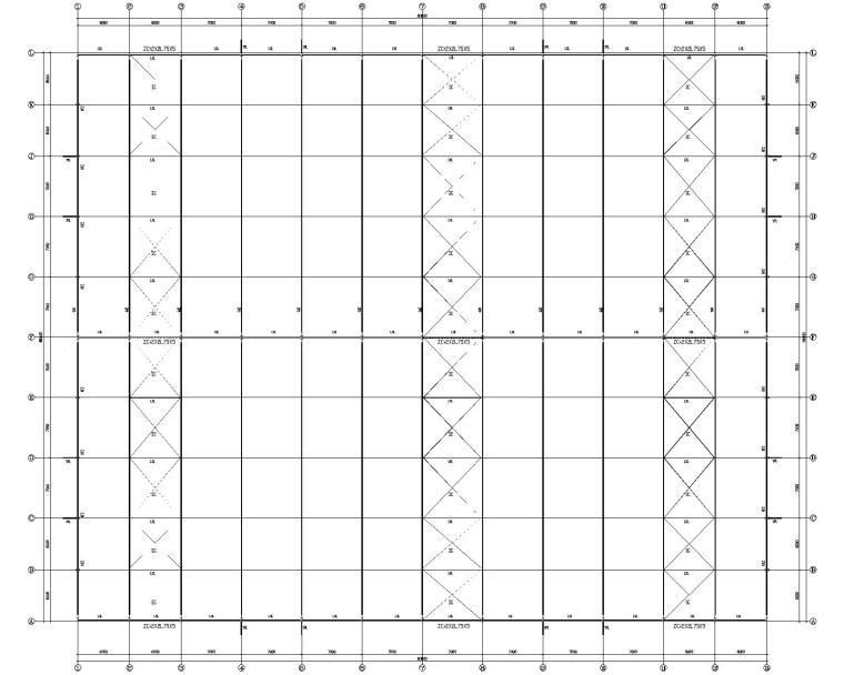 仓库基础施工资料下载-66m大型双坡钢结构库房结构施工图CAD