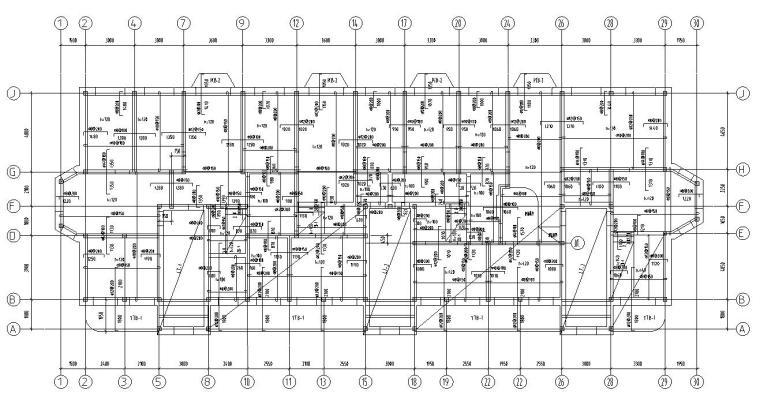 四层住宅带阁楼顶层砖混结构施工图CAD-结构平面图2