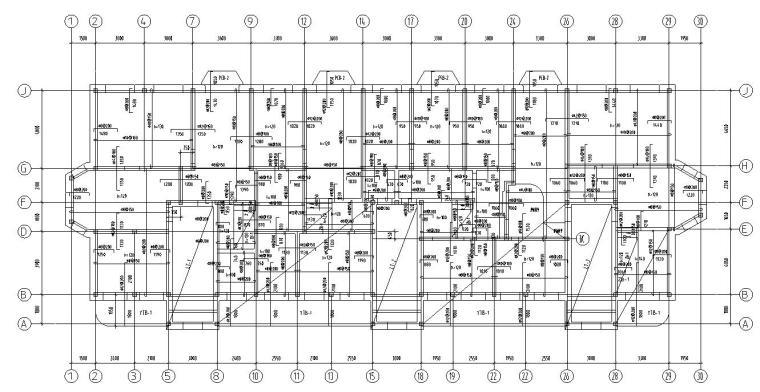 四层住宅带阁楼顶层砖混结构施工图CAD-结构平面图