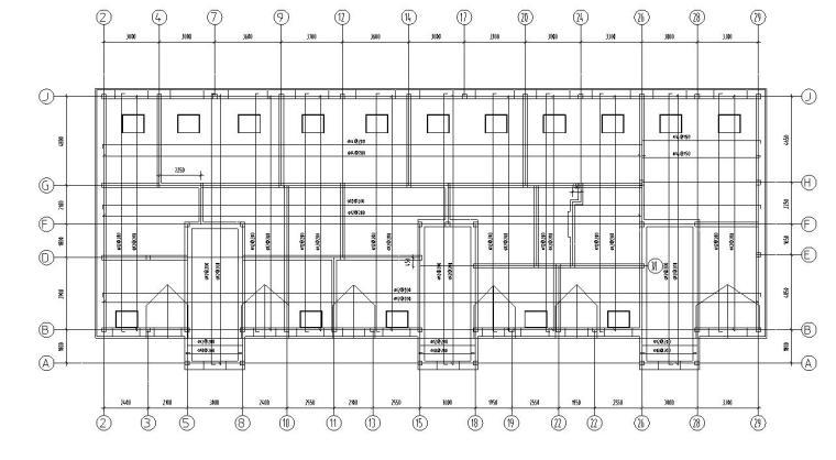 四层住宅带阁楼顶层砖混结构施工图CAD-阁楼顶层结构平面图