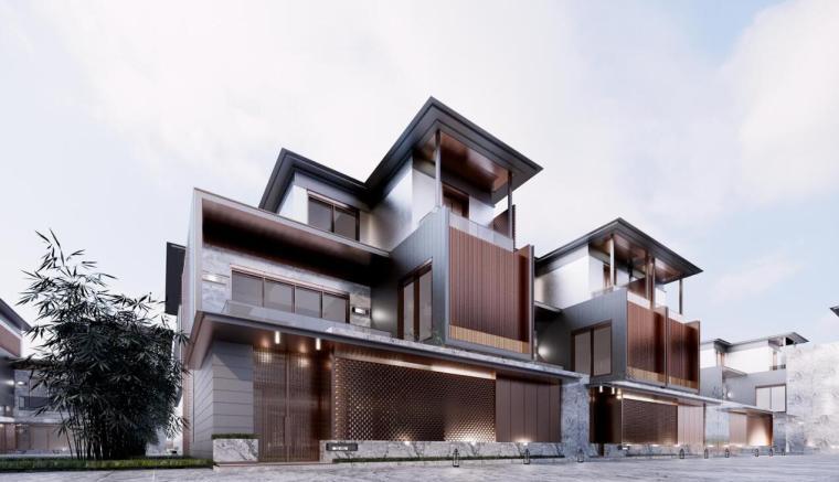 [江苏]现代婉约高层+联排别墅建筑方案-效果图