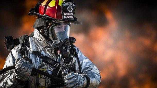 消防员, 火, 肖像, 培训, 监视器, 热, 危险, 烧伤, 火焰, 烟, 水