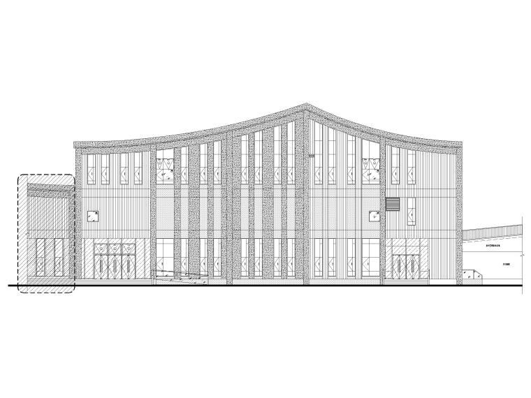 三层框剪结构档案馆建筑施工图2019-立面图1