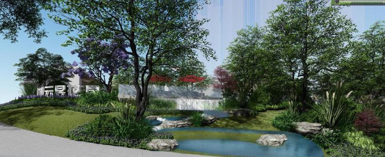 [广东]惠州现代风格居住区景观设计方案-景观效果图2