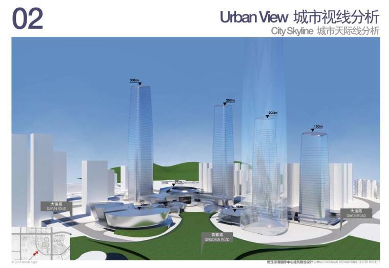 [广东]国际中心超级住宅+办公建筑方案-城市天际线分析