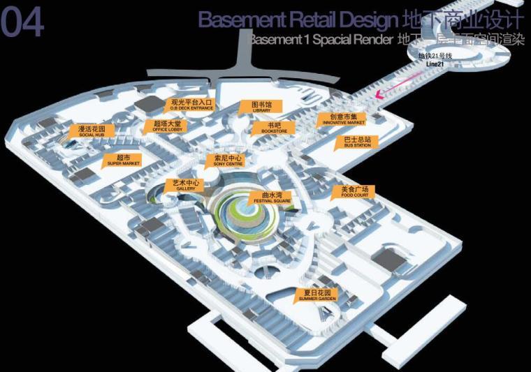 [广东]国际中心超级住宅+办公建筑方案-地下一层平面空间渲染