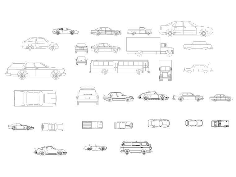 CAD常用图库_指北针,书画,电气标志,家具等-汽车图块