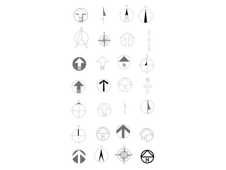 CAD常用图库_指北针,书画,电气标志,家具等-指北针图块