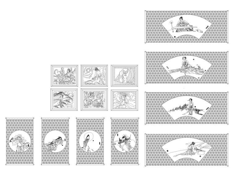 CAD常用图库_指北针,书画,电气标志,家具等-CAD中国画图块