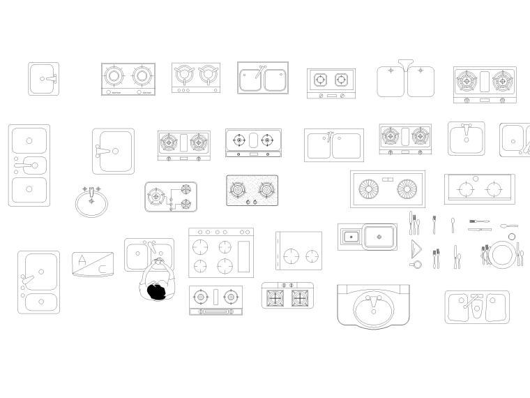 CAD常用图库_指北针,书画,电气标志,家具等-厨房用具图块