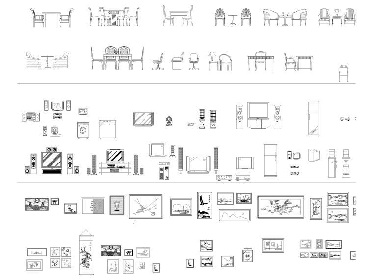 CAD常用图库_指北针,书画,电气标志,家具等-CAD常用立面图库