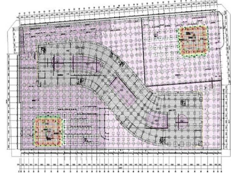 提高基础轴线精度QC成果-基础平面图